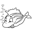 striped smiling fish vector image vector image