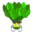 super cool vegetable spinach on a cartoon plate vector image