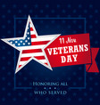 veterans day usa honoring all who served banner vector image vector image