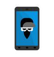 virus in smartphone skull hacker head of vector image