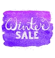 Winter sale text lettering on watercolor vector image vector image