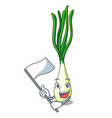 with flag fresh scallion isolated on the mascot vector image