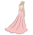woman in pink dress vector image