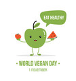 world vegan day cartoon vector image