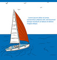 yacht race poster design with sail boat sketch vector image vector image