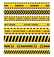 Yellow warning tapes set vector image