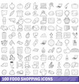 100 food shopping icons set outline style vector image