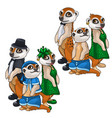 artistic family of meerkats in evening dress vector image vector image