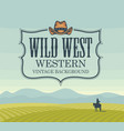banner with western landscape and rider on horse vector image vector image