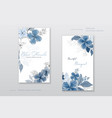 beautiful blue watercolor flowers cards collection vector image vector image