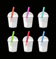 bubble tea or milk cocktail set isolated on black vector image vector image
