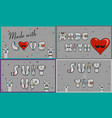 cards with inscriptions made with love suit and vector image