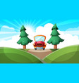 cartoon ladscape car road vector image vector image