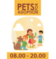 children with pets adopt friendship poster vector image