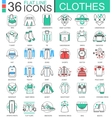 clothes shoes flat line outline icons vector image