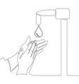 continuous line drawing washing hands concept