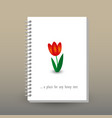 cover of diary or notebook with red tulip flower vector image vector image