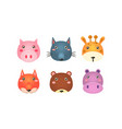cute animal heads set funny faces pig wolf vector image