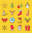 cute christmas icon set vector image