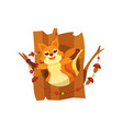 cute happy squirrel sitting in hollow of tree vector image