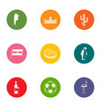 distant country icons set flat style vector image vector image