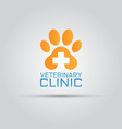 Dog paw veterinary clinic isolated logo