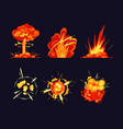 explosion bursts fire flame bangs and booms icons vector image
