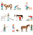 farmers harvest and care for livestock farmers vector image