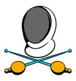 fencing swords and helmet mask icon icon cartoon vector image vector image