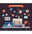 Flat design travel composition with world famous vector image vector image