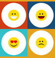 flat icon expression set of grin love laugh and vector image vector image