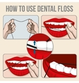 flossing teeth infographics vector image vector image
