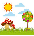 flowers and fungus icon vector image