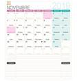 french calendar - november 2019 vector image vector image