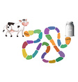 Game template with cow and milk vector image vector image
