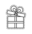 gift box ribbon give party open cut line vector image