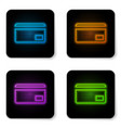 glowing neon credit card icon isolated on white vector image