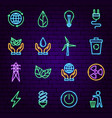 green energy neon icons vector image
