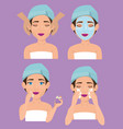 group of beautiful women in treatment facial vector image vector image