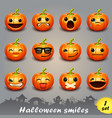 halloween smiles-set 1 vector image vector image