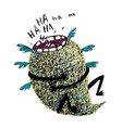 hand drawn sketchy monster laughing vector image vector image