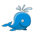Happy little blue cartoon whale vector image vector image