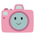 happy pink camera on white background vector image vector image