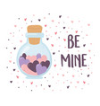 happy valentines day hearts in a glass mason jar vector image