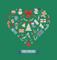 heart shape merry christmas card vector image vector image