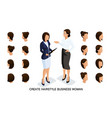 isometric set business women and hairstyles vector image