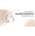 juneteenth freedom day banner continuous line vector image