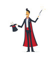magician doing a hat trick - cartoon people vector image vector image