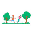 man and woman characters in sports wear running vector image vector image
