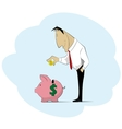 Man collecting money into piggy bank vector image vector image